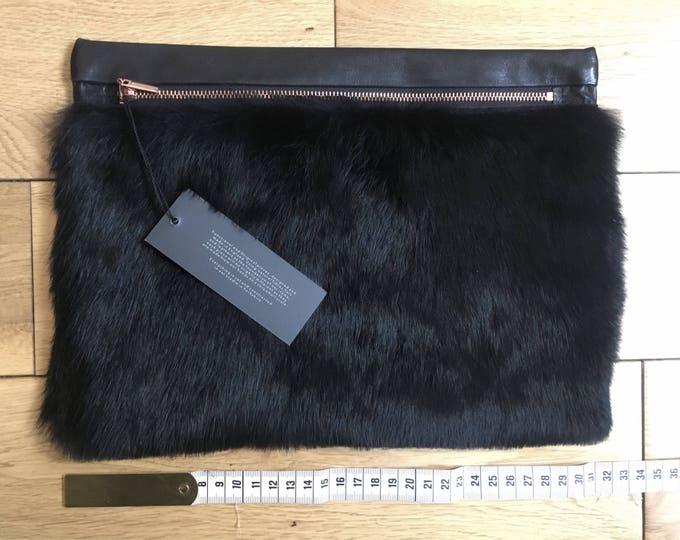 Black Fur & Leather Pouch