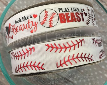 "7/8"" Baseball - Softball - Beauty - Play Like a Beast - Fast Pitch Softball - U.S. DESIGNER - High Quality Grosgrain Ribbon - By The Yard"