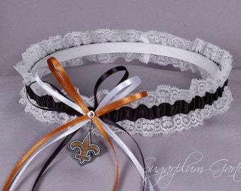New Orleans Saints Lace Wedding Garter - Ready to Ship