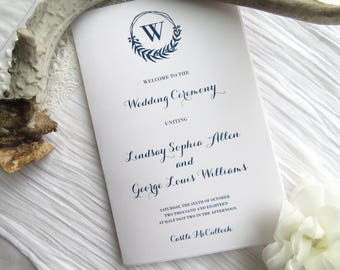 Folded Wedding Program Printable Template |  Instant Download PDF - Wedding Programs |  Folded Program  |  Navy Laurel Wreath Style 13