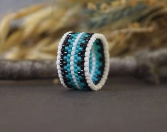 White black blue ring Midi beaded ring Wide ring band Beading ring Unique ring jewelry Toe ring Boho band ring peyote seed bead ring for her