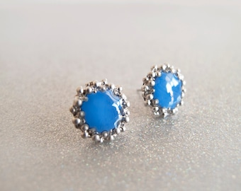Royal Blue Silver Stud Earrings - Hipoallergenic Surgical Steel Post