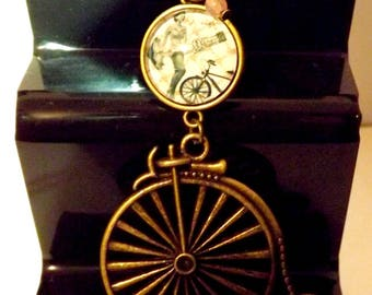 designer jewelry, glass cabochon necklace, retro vintage bike, bicycle
