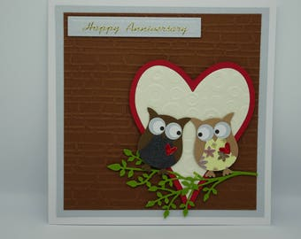 Happy Anniversary, Owl Card, Anniversary Owl Card, Cute Anniversary Card, Romantic Owl Card