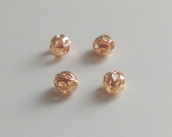 4 x Gold plated filigree beads 3.5mm - Gold filigree beads - Gold filigree spacer beads - Shiny gold filigree beads - Findings [MB028]