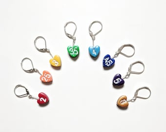 Rainbow Stitch Markers. Numbered stitch markers. Rainbow Hearts. Universal. Knitting and crochet. Ready to ship.