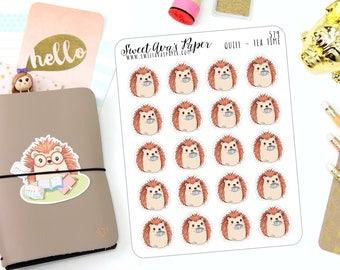 Tea Planner Stickers - Tea Party Stickers - Tea Time Stickers - Food Planner Stickers - Hedgehog Stickers - Character Sticker - 579