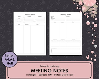 Meeting Notes, Meeting Minutes, Meeting Tracker, Business Journal, Business Planner, Project Management, Meeting Template, Meeting Agenda