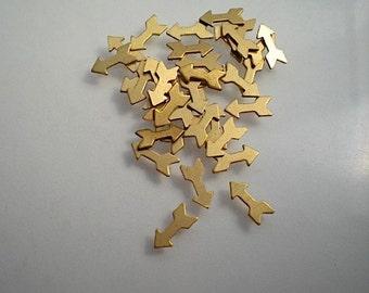 24 teeny tiny flat brass arrow charms