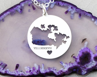 Canada Necklace • Map Charm • Country Outline • Custom Country Pendant • Country Personalized Pendant • Girl Gift Ideas Her Gift