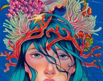 "Mermaid art print , Fine Art print ,""Colorful mind"" limited edition , archival print , pop surrealism art"