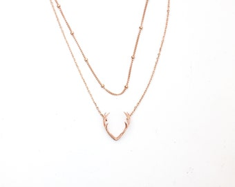 Antler Necklace, rose Gold Antler Necklace, Delicate Antler Necklace, Deer Necklace, Horn Necklace, Rustic Necklace, gift ideas, birthday