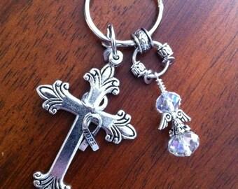 Christian Keychain, Cowgirl Keychain, Cristian Key Chain, Silver Cross Keychain, Angel Wing Charm