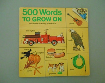 500 Hundred Words To Grow On children's book, Vintage children's book, Picture book, Random House children's book, Collectible book