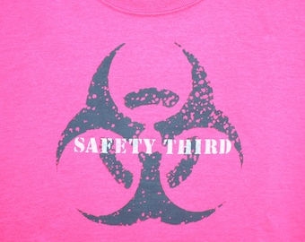 Neon Pink Safety Pink Mutant Biohazard womens SAFETY THIRD tshirt pink gray white safety 3rd neon clothing burning man xs to XXL plus size