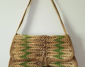 Vintage Summer Tote / Vintage Shoulder Bag  / Woven Purse