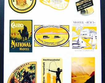 Vintage Luggage Label Images Paper, on Card Stock 8.5 X 11 Sheet Y-2, NOT Digital