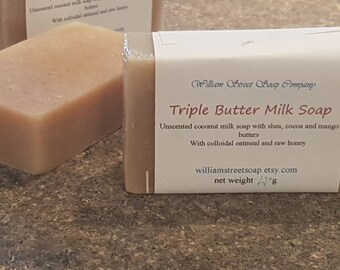 Unscented Soap - Shea Butter Soap - Cocoa Butter Soap - Sensitive Skin Care - Oatmeal, Milk and Honey Soap - Coconut Milk Soap - Baby Soap