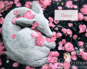 Beautiful DREAM Blank Card - 5x7 with Envelope - Flower Blossoms and a Faun