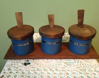 Blue Tin Canister Set, Mustard, Grated Cheese, Relish