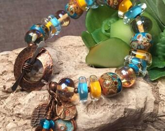 GOLDEN DAYS, artisan lampwork and copper bracelet