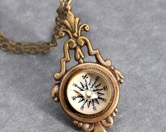 Steampunk Necklace Compass Pendant Brass Steampunk Compass Working Compass Necklace Nautical Compass