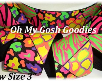 "CHEER MANIA NEON Leopard & Zebra grosgrain ribbon - 2 1/4"", 3"" - 5 Yards - Oh My Gosh Goodies Ribbon"