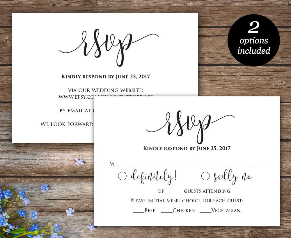 Rsvp Printable Card Wedding Rsvp Cards Wedding Response