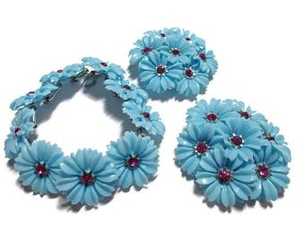 Vintage Coro Blue Flower Bracelet Earring Set 1950's