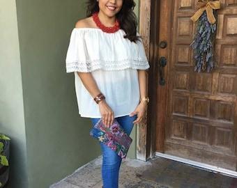 Mexican Blouse, Peaseant off the shoulder blouse, Cinco de Mayo