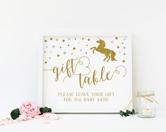 Unicorn Baby Shower Gift Table, Shower Gifts Sign, Gift Table Sign, Baby Shower Table Decor, Unicorn Party, Printable, Instant Download  UN2