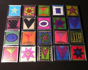 frig magnets with stars, hearts ,flowers, coffee cups, martinis and abstract designs