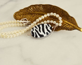 Zebra Jewelry, Real Pearl Necklace, African Jewelry