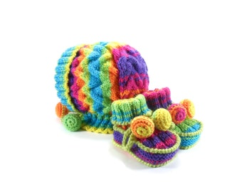 Knitted Baby Bonnet and Booties - Rainbow Colors, 3 - 6 month