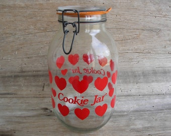 Vintage Heart Cookie Jar / Carlton Glass 3L Cookie Jar with Red Hearts / Valentine Cookie Jar / Retro Red Heart Cookie Jar