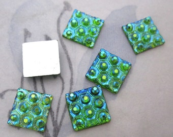 30 pcs. resin green w AB honeycomb square flat back cabochons 10x10mm - f5149