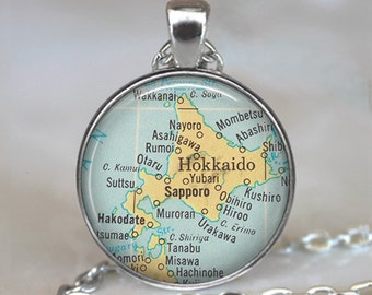 Hokkaido map necklace, Hokkaido map pendant, Hokkaido pendant Japan necklace Sapporo map jewelry map keychain key ring key fob