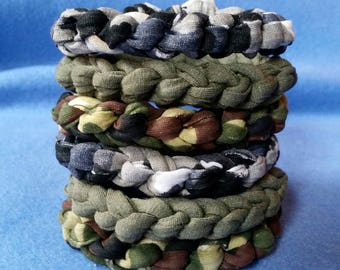 Mens Recycled T-shirt Bracelet - camouflage camo or khaki green fabric bracelet - crochet tshirt yarn tarn stretch bracelet
