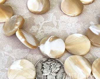 Mother of Pearl Beads - 15mm Natural Organic Shell MOP Disc Coin - Bohemian Beach Ocean Sea - Central Coast Charms
