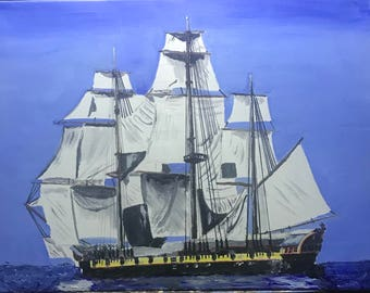 Old Battleship Canvas Oil Painting