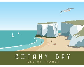 BOTANY BAY Thanet. Railway Style Seaside Poster. Landscape A4, A3, A2