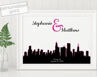 Skyline Gift, Personalized Gift, Wedding Gift, Printable Art, City Skyline, Engagement Gift, Custom Skyline, Anniversary Gift, Skyline Art