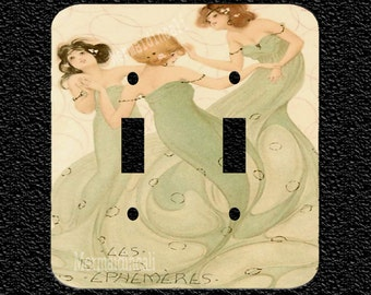 Three Mermaids Dancing Double Light Switch Plate Covers in 5 different sytle options