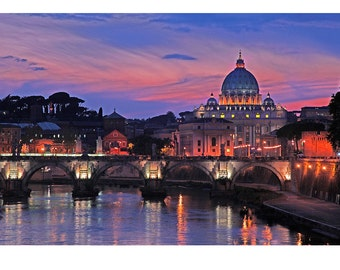 St Peter's Basilica, Rome, Italy, Purple Sunset, Gallery-wrapped Fine Art Photograph on Canvas, Metal, Picture, Ready to Hang Wall Art