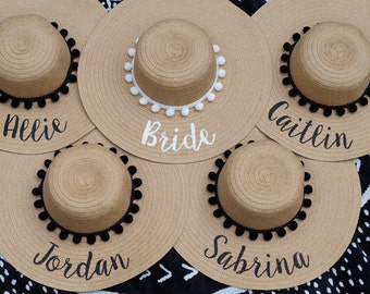 Group bulk order 2+ / custom beach hat / hand-painted / Mrs. / wedding / honeymoon / bachelorette party / Floppy Hat / Personalized Hat