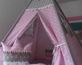 Childrens teepee, playtent, tipi, zelt, wigwam, kids teepee, tent, play teepee, TEEPEE WITH MAT