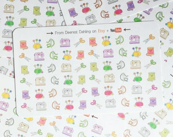 70 Kawaii Crafting Sewing stickers for Functional White Space Planning - Personal Planner