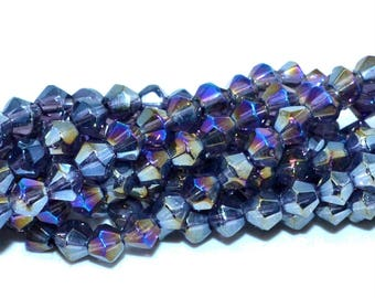 50 faceted 4mm purple AB Crystal bicones