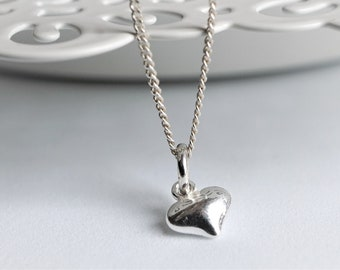 Small Heart Sterling Silver Delicate Necklace* Dainty* Gift for her* Feminine* Love charm