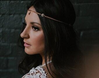 Aya Headpiece - Bridal  hair chain - art nouveau circlet victorian hairpiece reign tiara renaissance pagan hair chain- to MEASURE
